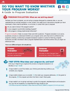 Do You Want to Know Whether Your Program Works? A Guide to Program Evaluation