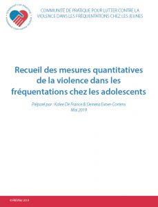 Recueil des mesures quantitatives de la violence dans les fréquentations chez les jeunes